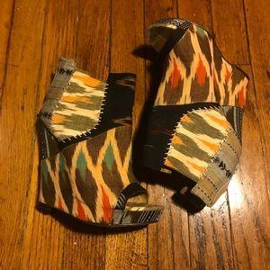 ALDO African and Boho print high heel wedge